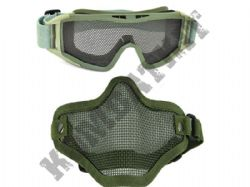 Metal mesh airsoft safety goggles and lower face steel wire mesh mask bundle green